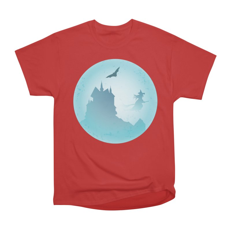 Spooky castly with bat and witch sillouetted by moon in blue. Women's Heavyweight Unisex T-Shirt by Make a statement, laugh, enjoy.