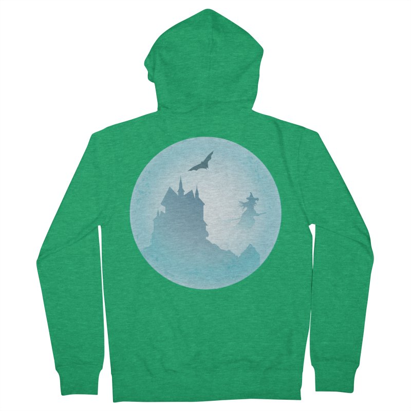 Spooky castly with bat and witch sillouetted by moon in blue. Women's Zip-Up Hoody by Make a statement, laugh, enjoy.