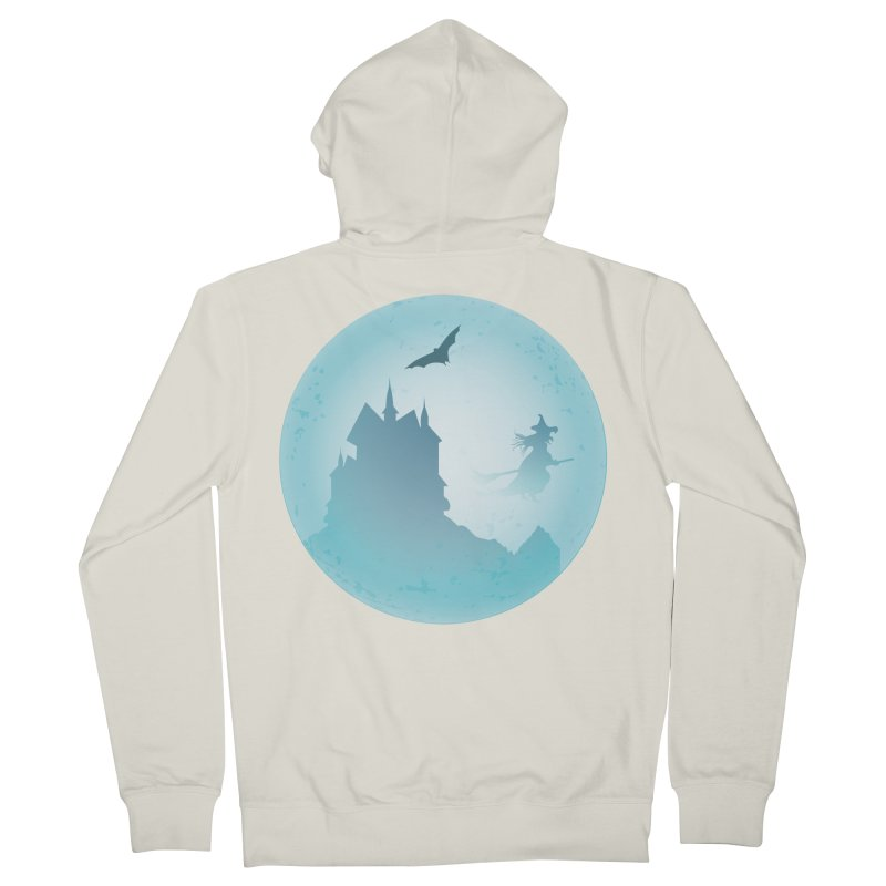 Spooky castly with bat and witch sillouetted by moon in blue. Women's French Terry Zip-Up Hoody by Make a statement, laugh, enjoy.