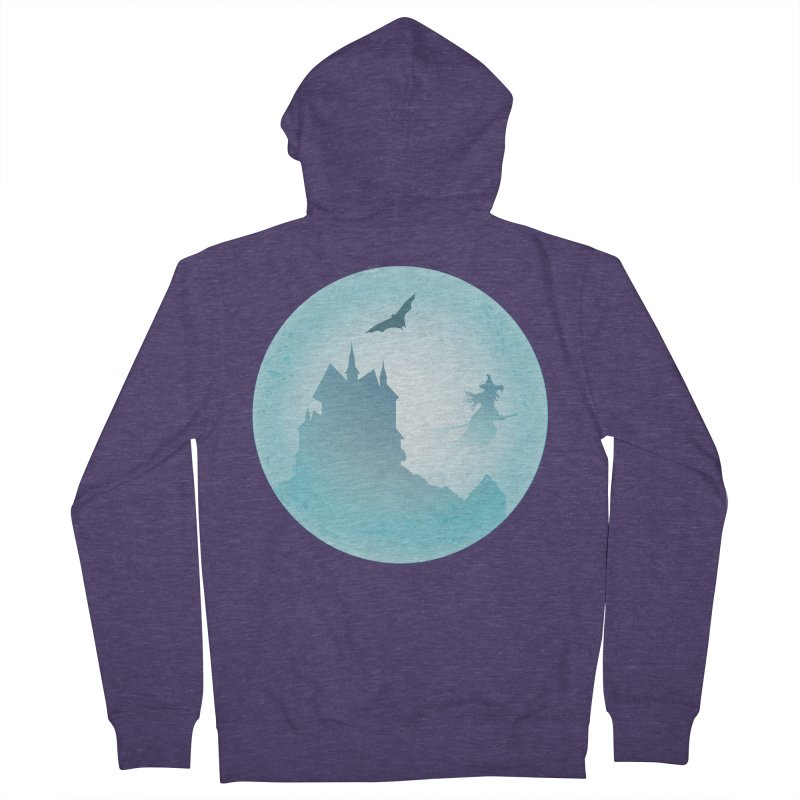Spooky castly with bat and witch sillouetted by moon in blue. Men's French Terry Zip-Up Hoody by Make a statement, laugh, enjoy.