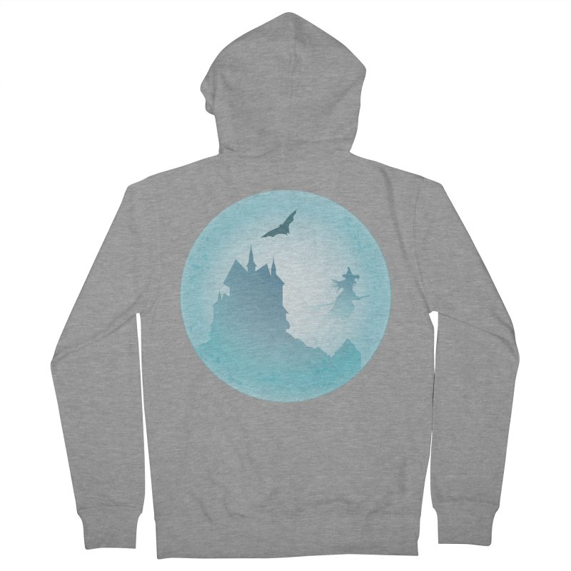 Spooky castly with bat and witch sillouetted by moon in blue. Men's French Terry Zip-Up Hoody by Sporkshirts's tshirt gamer movie and design shop.