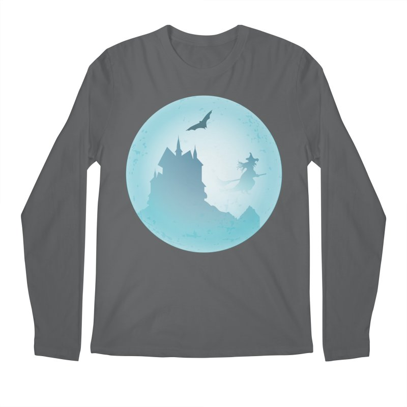 Spooky castly with bat and witch sillouetted by moon in blue. Men's Longsleeve T-Shirt by Make a statement, laugh, enjoy.