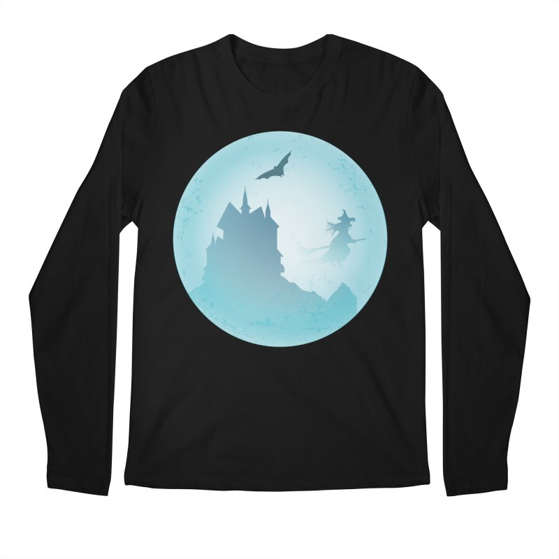 Spooky castly with bat and witch sillouetted by moon in blue. Men's Regular Longsleeve T-Shirt by Sporkshirts's tshirt gamer movie and design shop.