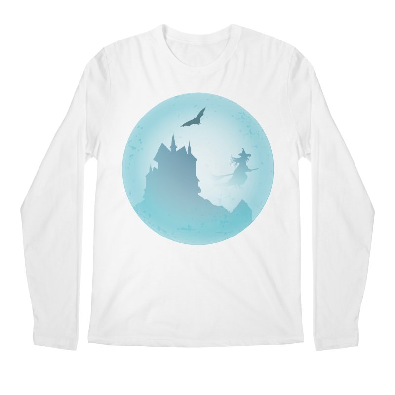 Spooky castly with bat and witch sillouetted by moon in blue. Men's Regular Longsleeve T-Shirt by Make a statement, laugh, enjoy.