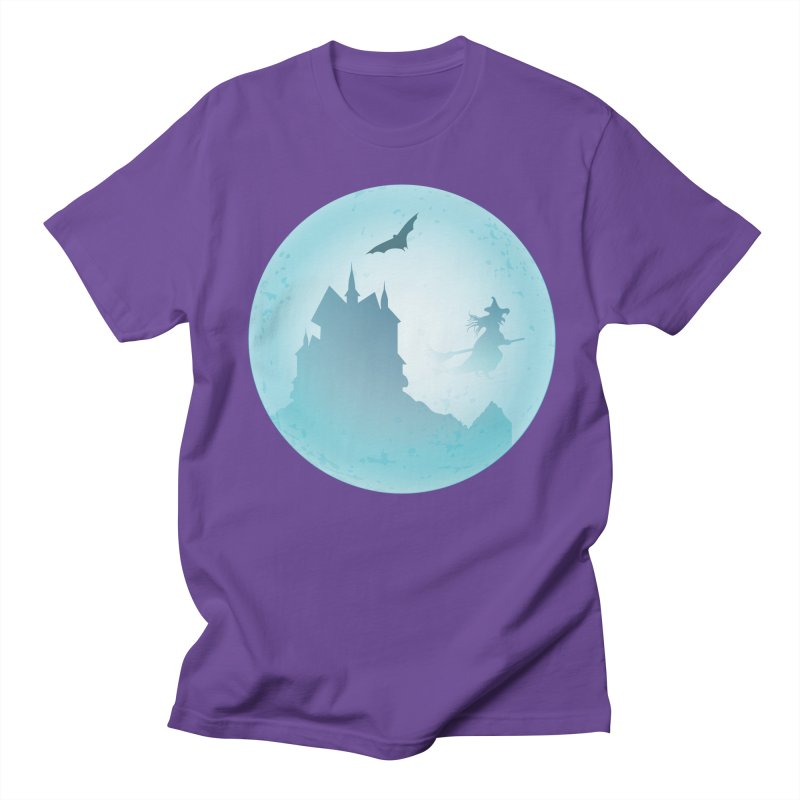 Spooky castly with bat and witch sillouetted by moon in blue. Women's Regular Unisex T-Shirt by Sporkshirts's tshirt gamer movie and design shop.