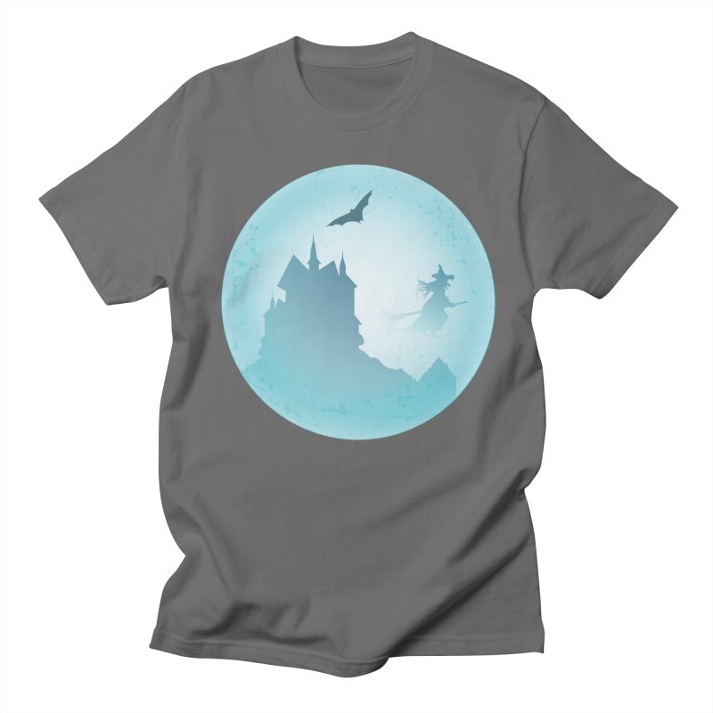 Spooky castly with bat and witch sillouetted by moon in blue. Men's T-Shirt by Make a statement, laugh, enjoy.
