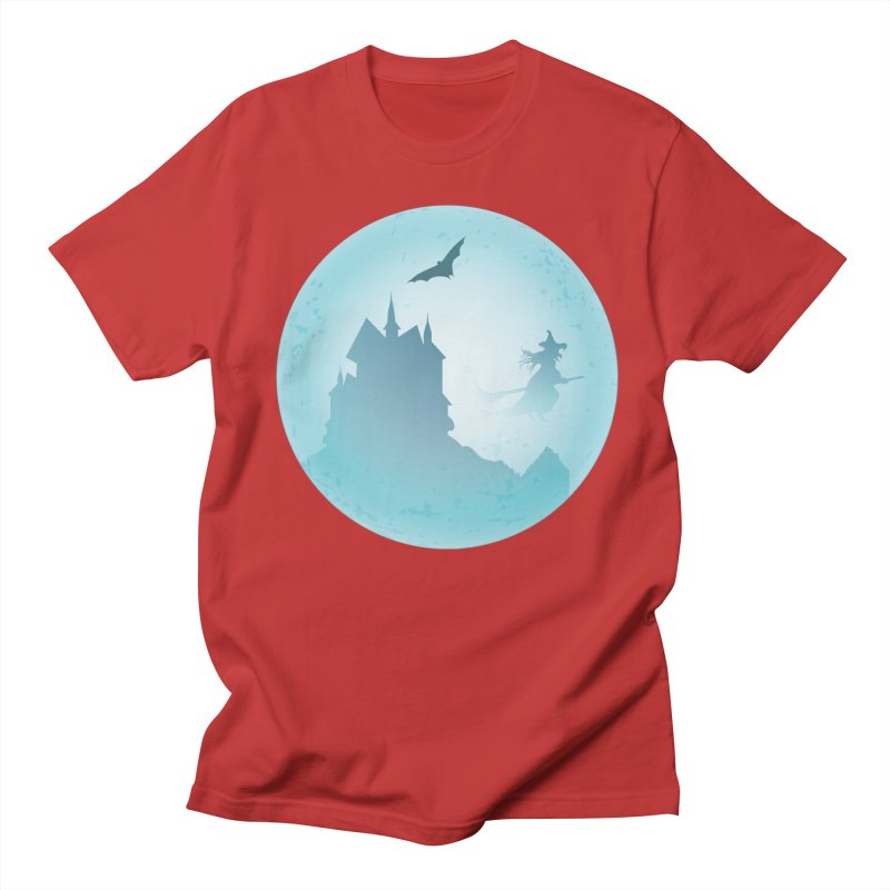 Spooky castly with bat and witch sillouetted by moon in blue. Men's Regular T-Shirt by Sporkshirts's tshirt gamer movie and design shop.