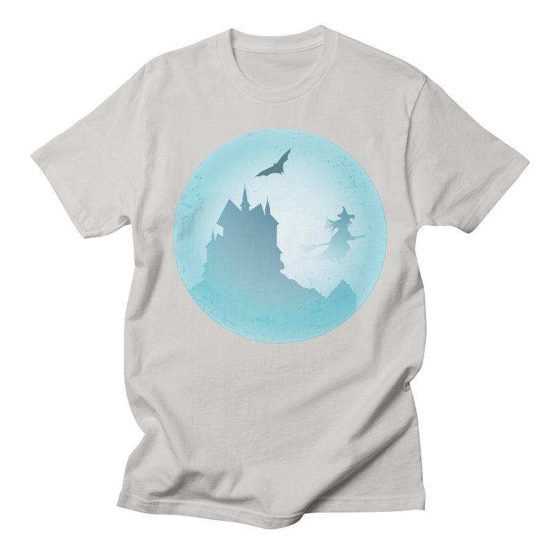 Spooky castly with bat and witch sillouetted by moon in blue. Women's Regular Unisex T-Shirt by Make a statement, laugh, enjoy.