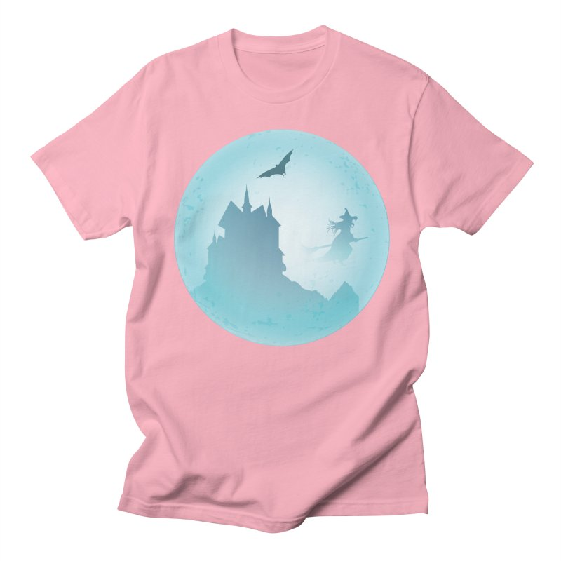 Spooky castly with bat and witch sillouetted by moon in blue. Men's Regular T-Shirt by Make a statement, laugh, enjoy.