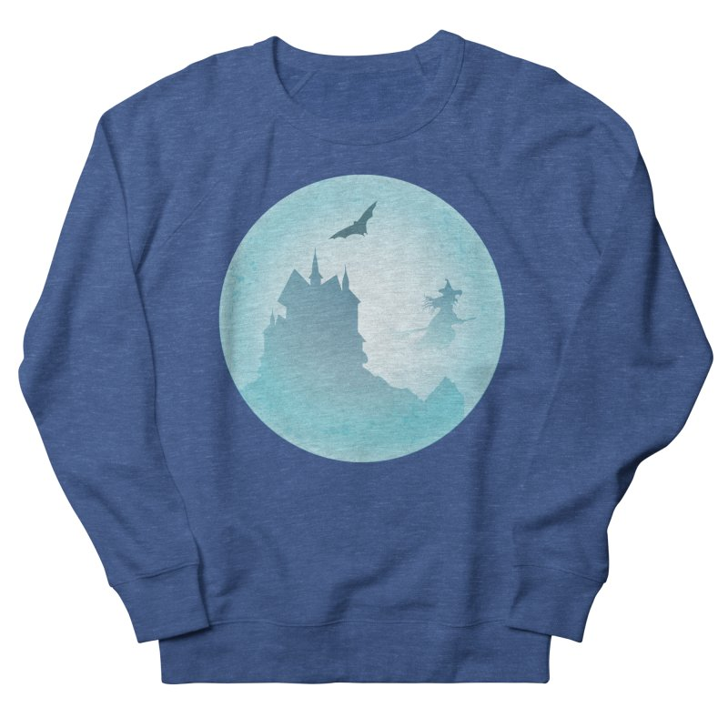 Spooky castly with bat and witch sillouetted by moon in blue. Women's French Terry Sweatshirt by Sporkshirts's tshirt gamer movie and design shop.