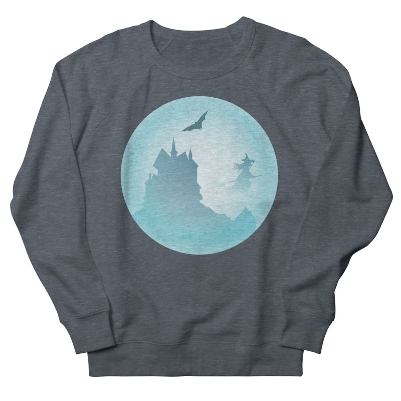 Spooky castly with bat and witch sillouetted by moon in blue. Women's French Terry Sweatshirt by Make a statement, laugh, enjoy.