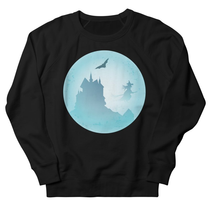 Spooky castly with bat and witch sillouetted by moon in blue. Men's French Terry Sweatshirt by Make a statement, laugh, enjoy.
