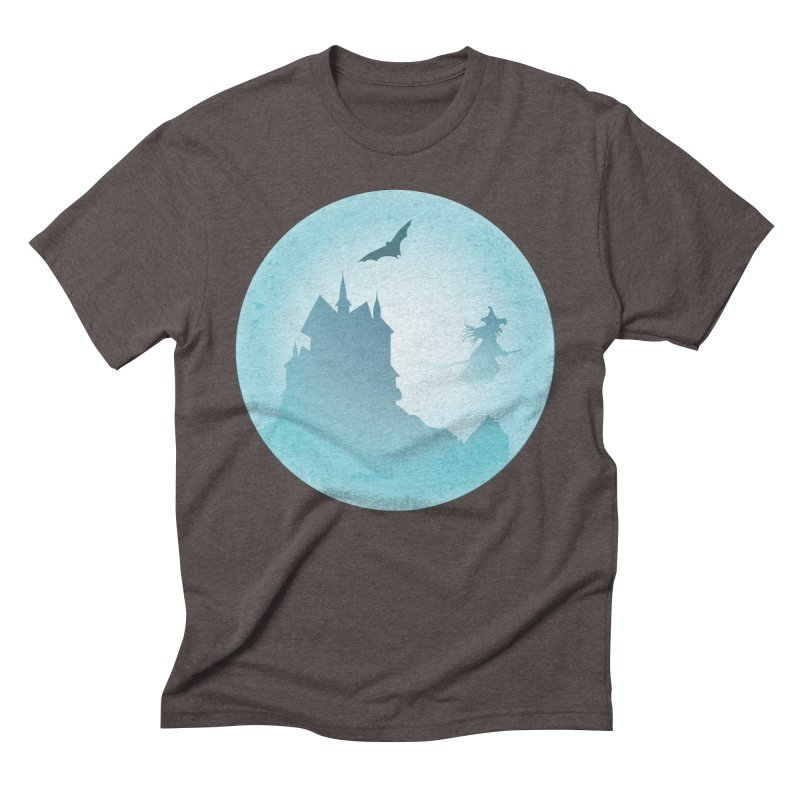 Spooky castly with bat and witch sillouetted by moon in blue. Men's Triblend T-Shirt by Sporkshirts's tshirt gamer movie and design shop.
