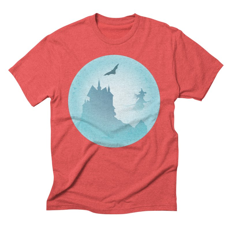 Spooky castly with bat and witch sillouetted by moon in blue. Men's Triblend T-Shirt by Make a statement, laugh, enjoy.