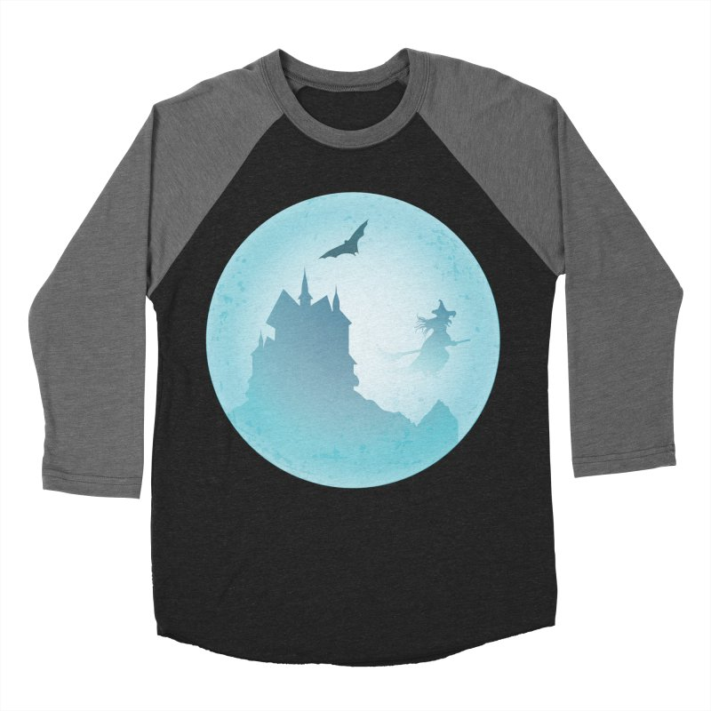 Spooky castly with bat and witch sillouetted by moon in blue. Women's Baseball Triblend Longsleeve T-Shirt by Make a statement, laugh, enjoy.