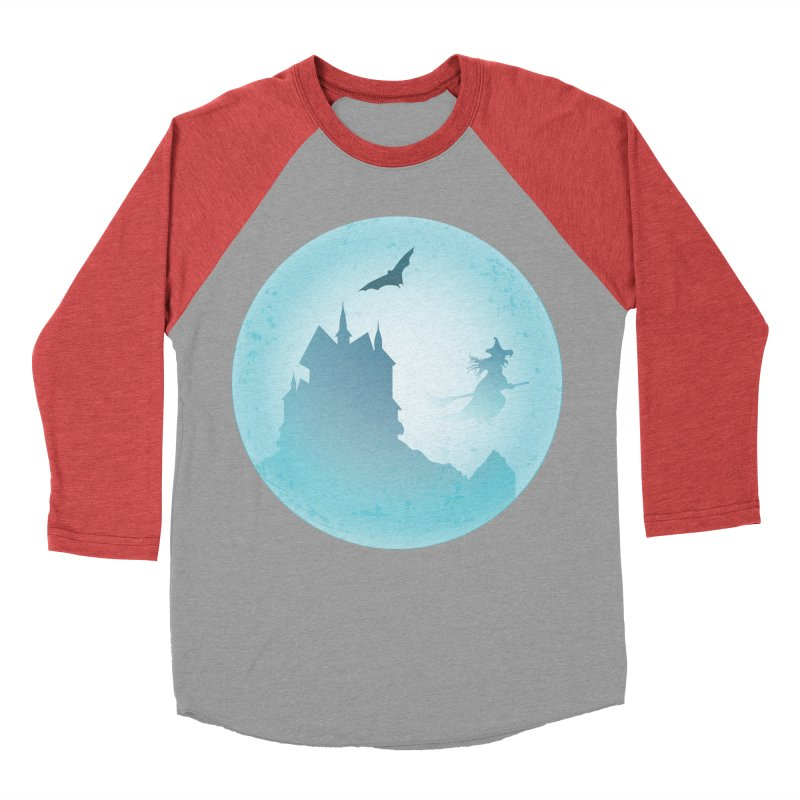 Spooky castly with bat and witch sillouetted by moon in blue. Men's Baseball Triblend Longsleeve T-Shirt by Make a statement, laugh, enjoy.