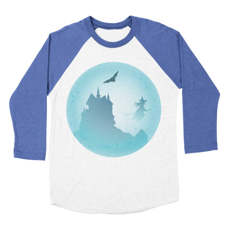 Spooky castly with bat and witch sillouetted by moon in blue. Men's Baseball Triblend Longsleeve T-Shirt by Sporkshirts's tshirt gamer movie and design shop.