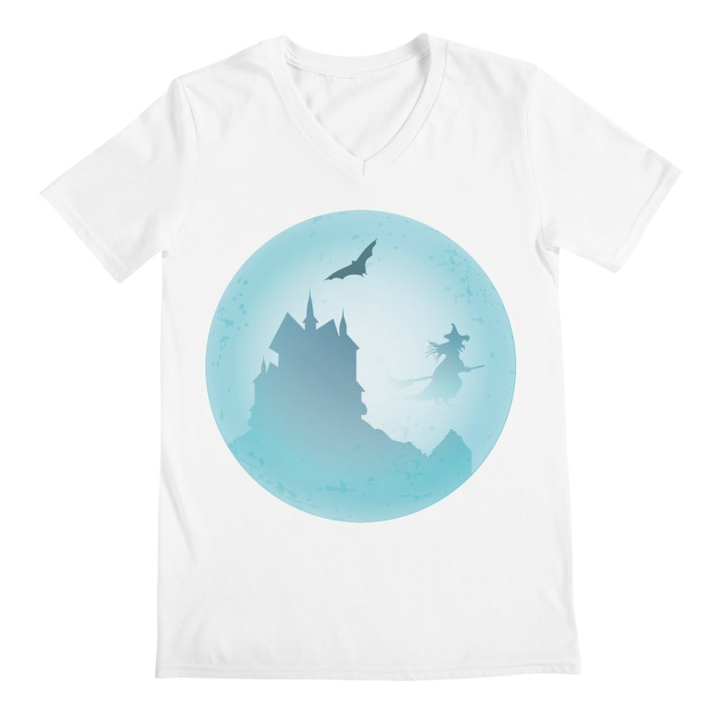 Spooky castly with bat and witch sillouetted by moon in blue. Men's Regular V-Neck by Make a statement, laugh, enjoy.