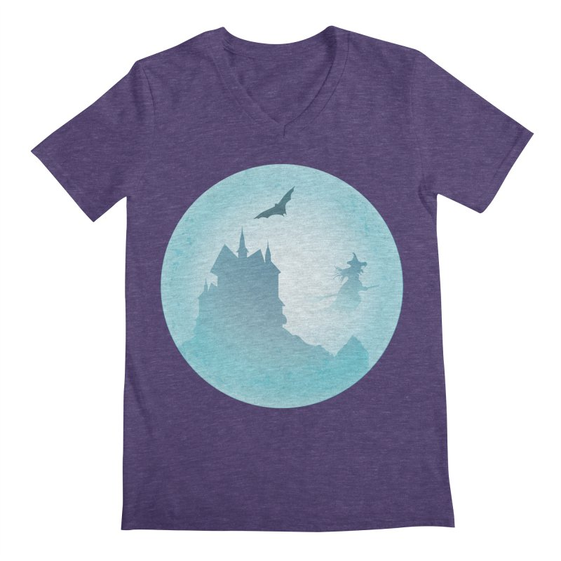 Spooky castly with bat and witch sillouetted by moon in blue. Men's Regular V-Neck by Sporkshirts's tshirt gamer movie and design shop.