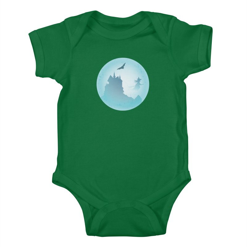Spooky castly with bat and witch sillouetted by moon in blue. Kids Baby Bodysuit by Make a statement, laugh, enjoy.