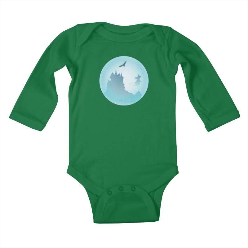 Spooky castly with bat and witch sillouetted by moon in blue. Kids Baby Longsleeve Bodysuit by Sporkshirts's tshirt gamer movie and design shop.