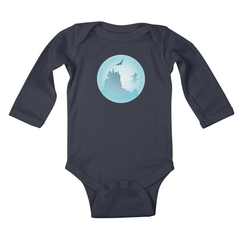 Spooky castly with bat and witch sillouetted by moon in blue. Kids Baby Longsleeve Bodysuit by Make a statement, laugh, enjoy.