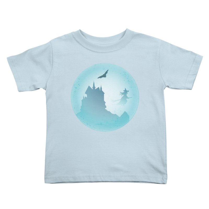 Spooky castly with bat and witch sillouetted by moon in blue. Kids Toddler T-Shirt by Sporkshirts's tshirt gamer movie and design shop.