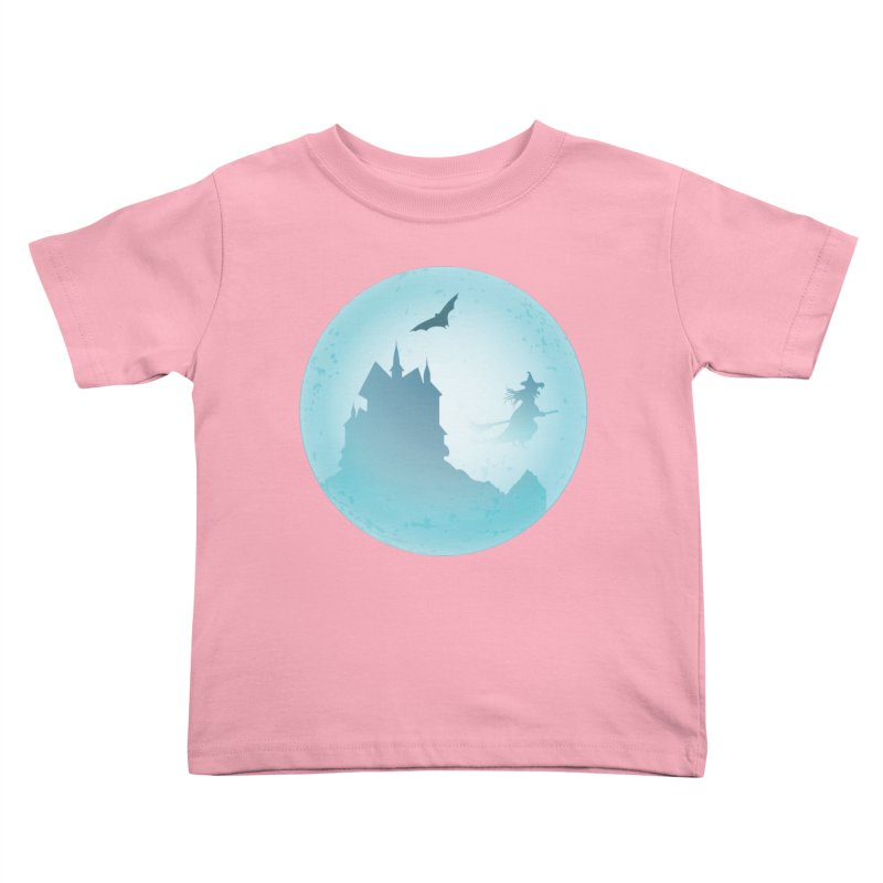 Spooky castly with bat and witch sillouetted by moon in blue. Kids Toddler T-Shirt by Make a statement, laugh, enjoy.