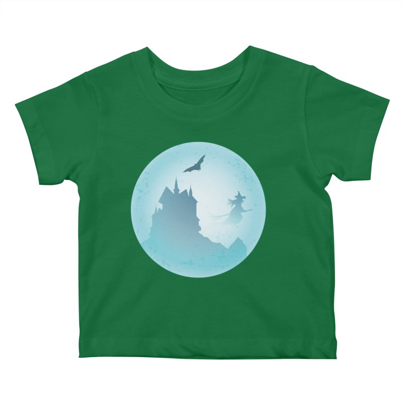 Spooky castly with bat and witch sillouetted by moon in blue. Kids Baby T-Shirt by Make a statement, laugh, enjoy.