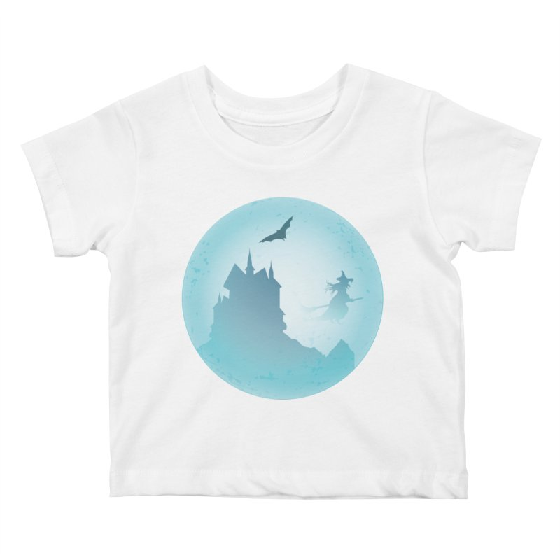 Spooky castly with bat and witch sillouetted by moon in blue. Kids Baby T-Shirt by Sporkshirts's tshirt gamer movie and design shop.