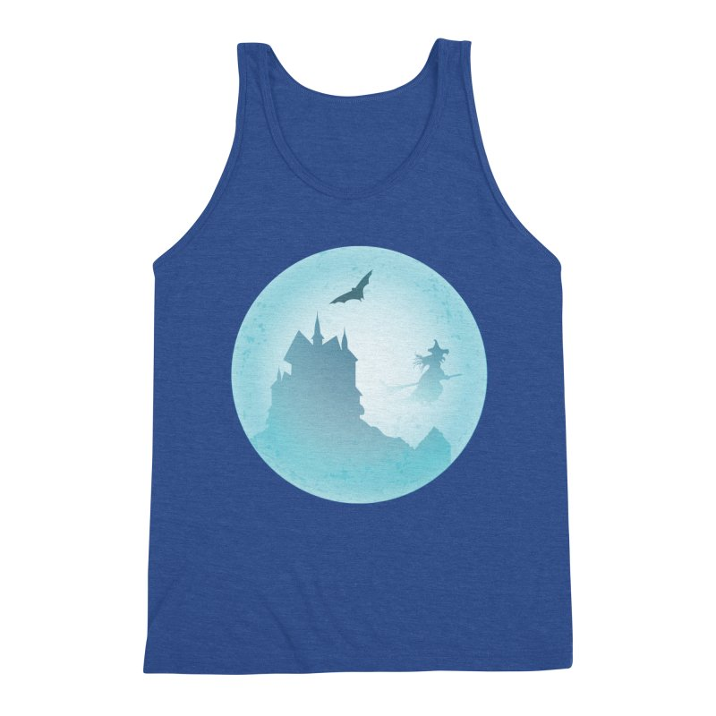 Spooky castly with bat and witch sillouetted by moon in blue. Men's Tank by Make a statement, laugh, enjoy.