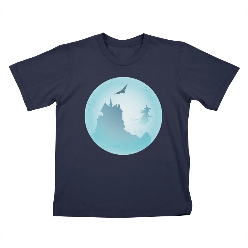 Spooky castly with bat and witch sillouetted by moon in blue. Kids T-Shirt by Sporkshirts's tshirt gamer movie and design shop.