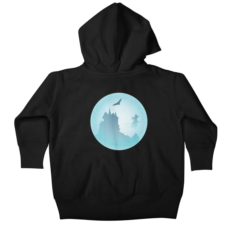 Spooky castly with bat and witch sillouetted by moon in blue. Kids Baby Zip-Up Hoody by Make a statement, laugh, enjoy.