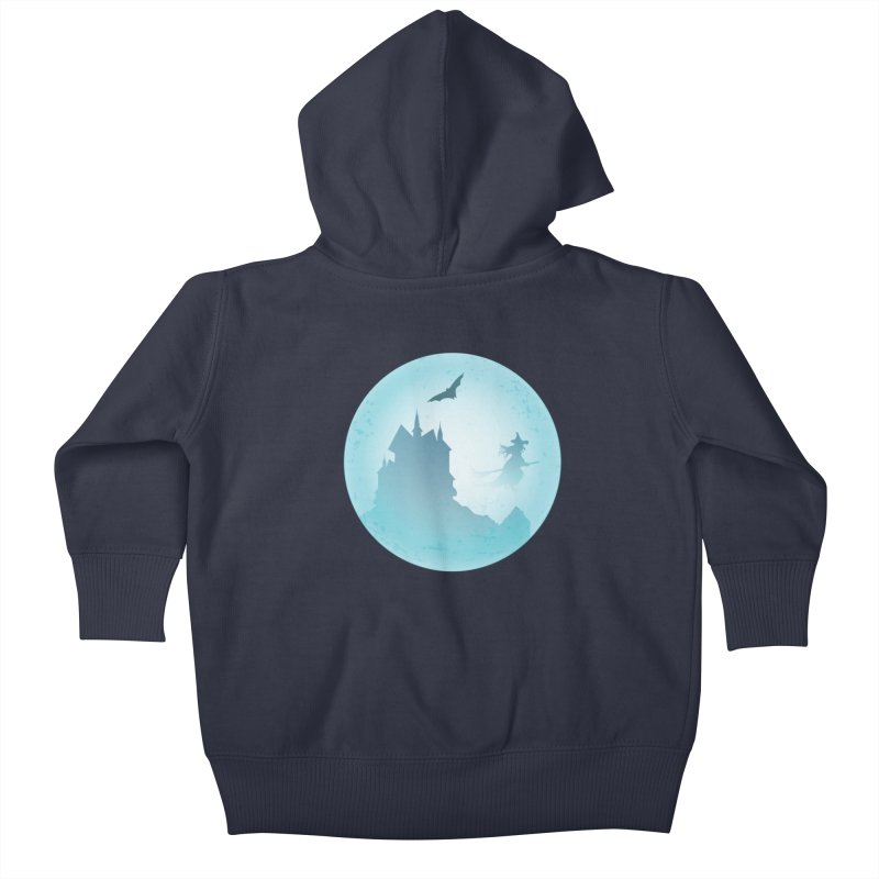 Spooky castly with bat and witch sillouetted by moon in blue. Kids Baby Zip-Up Hoody by Sporkshirts's tshirt gamer movie and design shop.