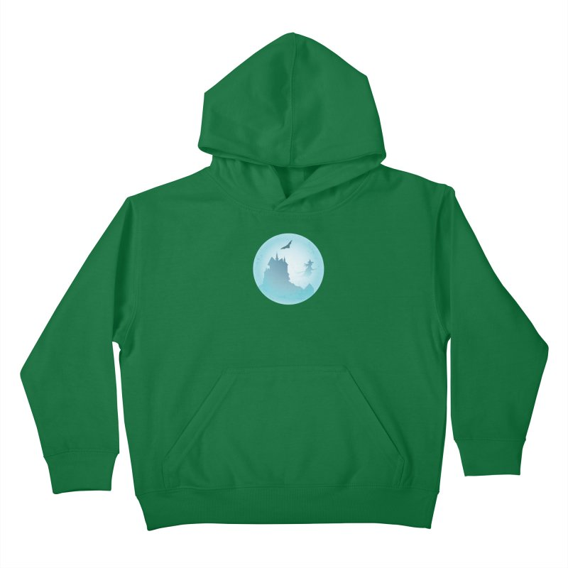 Spooky castly with bat and witch sillouetted by moon in blue. Kids Pullover Hoody by Make a statement, laugh, enjoy.