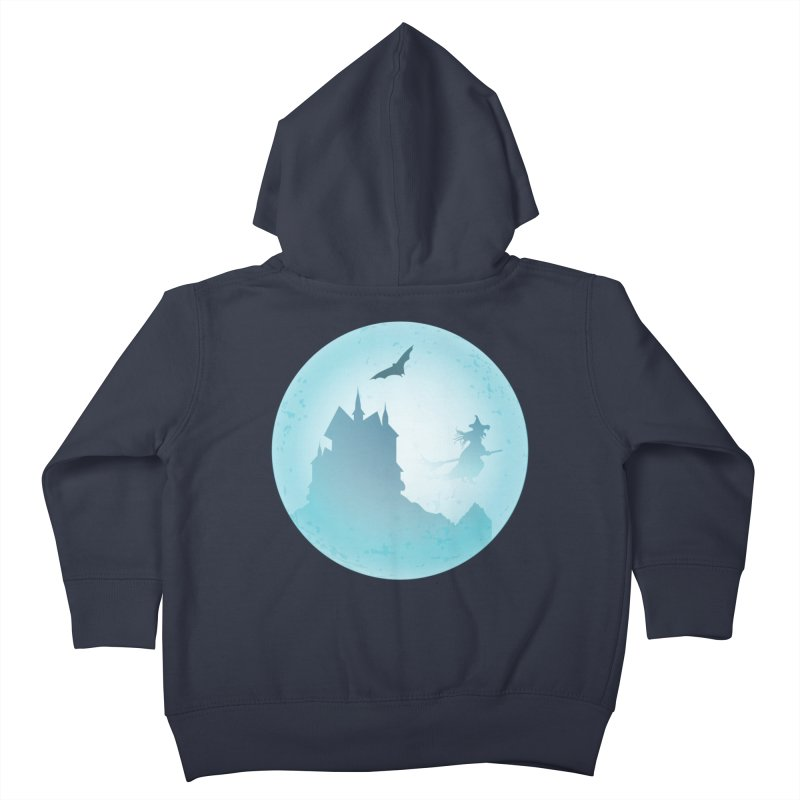 Spooky castly with bat and witch sillouetted by moon in blue. Kids Toddler Zip-Up Hoody by Make a statement, laugh, enjoy.