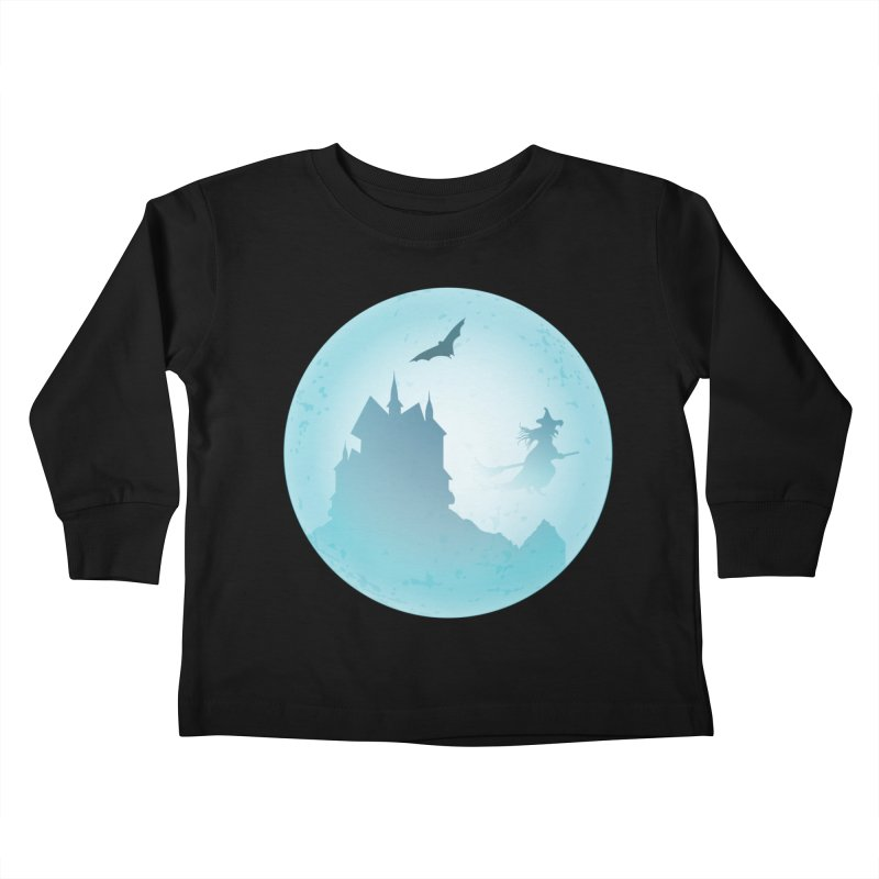 Spooky castly with bat and witch sillouetted by moon in blue. Kids Toddler Longsleeve T-Shirt by Sporkshirts's tshirt gamer movie and design shop.