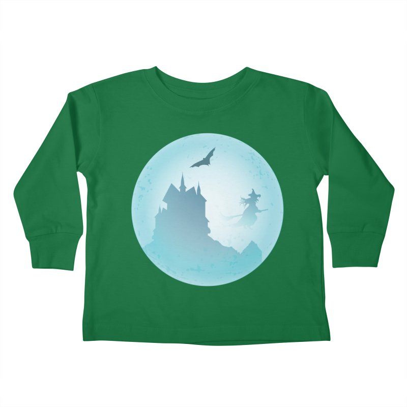 Spooky castly with bat and witch sillouetted by moon in blue. Kids Toddler Longsleeve T-Shirt by Make a statement, laugh, enjoy.