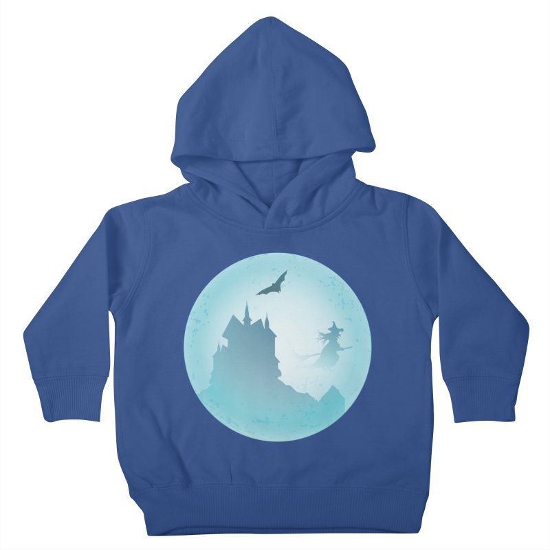 Spooky castly with bat and witch sillouetted by moon in blue. Kids Toddler Pullover Hoody by Make a statement, laugh, enjoy.