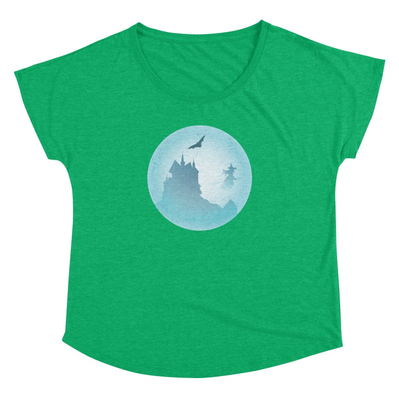 Spooky castly with bat and witch sillouetted by moon in blue. Women's Dolman Scoop Neck by Make a statement, laugh, enjoy.