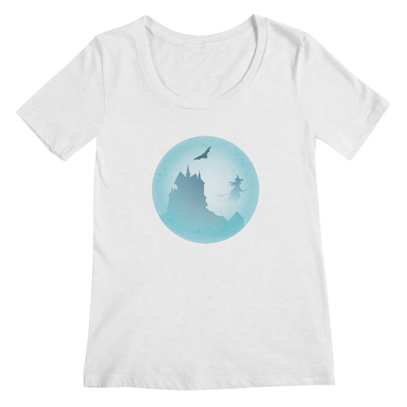 Spooky castly with bat and witch sillouetted by moon in blue. Women's Regular Scoop Neck by Make a statement, laugh, enjoy.