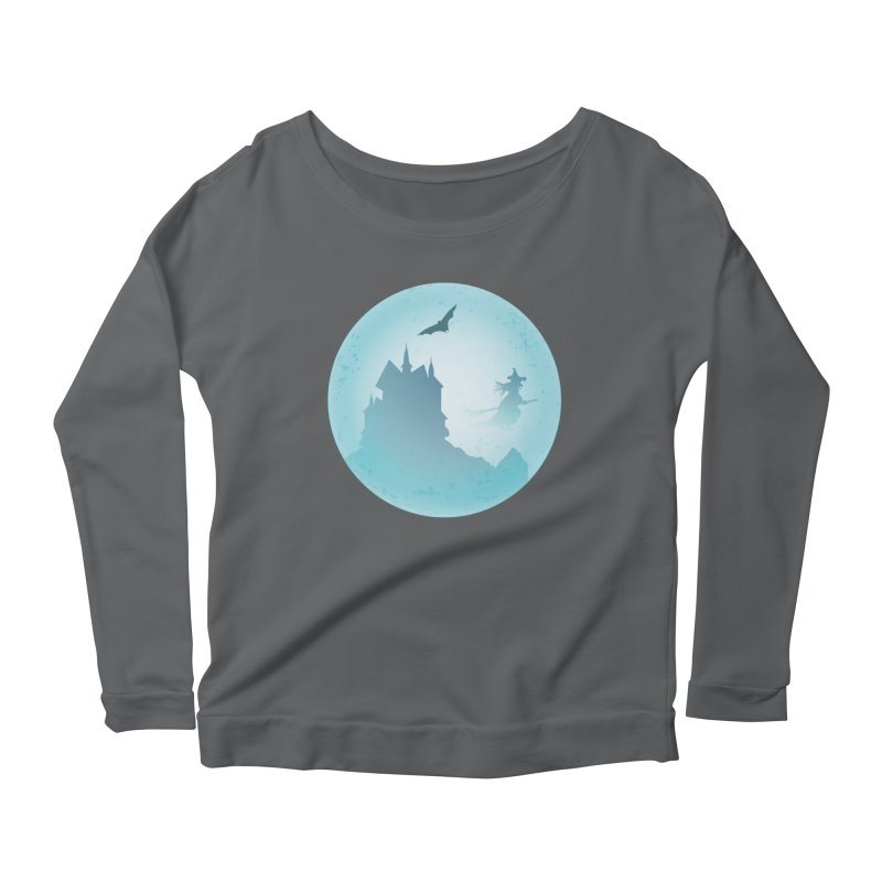 Spooky castly with bat and witch sillouetted by moon in blue. Women's Scoop Neck Longsleeve T-Shirt by Make a statement, laugh, enjoy.