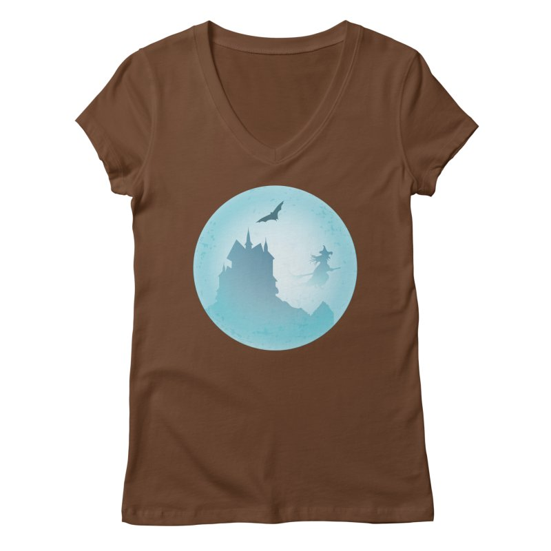 Spooky castly with bat and witch sillouetted by moon in blue. Women's Regular V-Neck by Make a statement, laugh, enjoy.