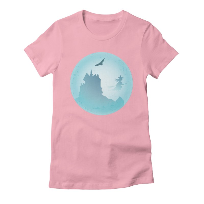 Spooky castly with bat and witch sillouetted by moon in blue. Women's Fitted T-Shirt by Make a statement, laugh, enjoy.