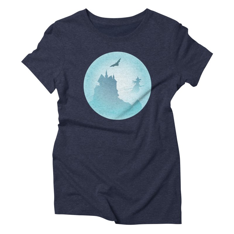 Spooky castly with bat and witch sillouetted by moon in blue. Women's Triblend T-Shirt by Make a statement, laugh, enjoy.
