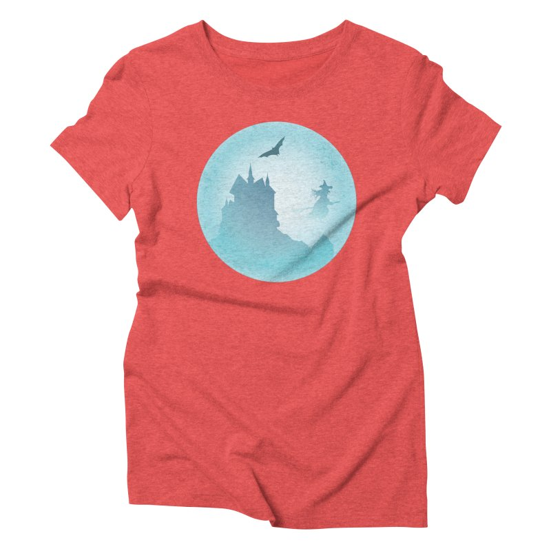 Spooky castly with bat and witch sillouetted by moon in blue. Women's Triblend T-Shirt by Sporkshirts's tshirt gamer movie and design shop.