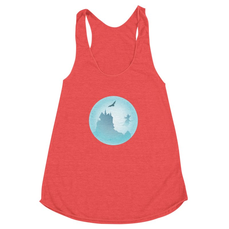 Spooky castly with bat and witch sillouetted by moon in blue. Women's Racerback Triblend Tank by Sporkshirts's tshirt gamer movie and design shop.