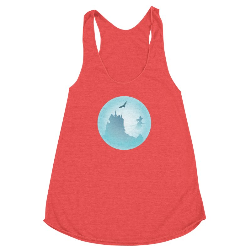 Spooky castly with bat and witch sillouetted by moon in blue. Women's Racerback Triblend Tank by Make a statement, laugh, enjoy.