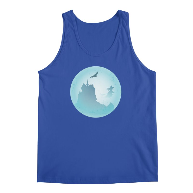 Spooky castly with bat and witch sillouetted by moon in blue. Men's Regular Tank by Sporkshirts's tshirt gamer movie and design shop.