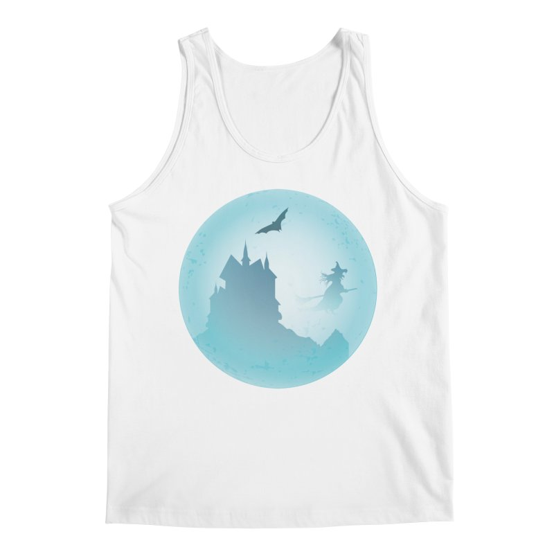 Spooky castly with bat and witch sillouetted by moon in blue. Men's Regular Tank by Make a statement, laugh, enjoy.